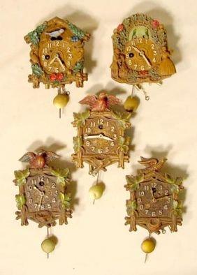 5 Lux & Keebler Bird Pendulette Clocks NR