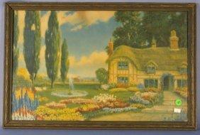 Borin Framed Cottage & Fountain Print