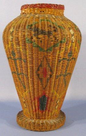 Woven Bakset Floor Vase W/ Painted Indian Motif