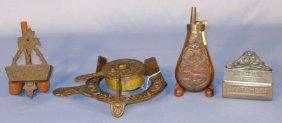 Group: Copper Flask, 2 Match Holders & Trivet