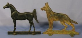 Cast Iron Horse And German Shepherd Door Stops