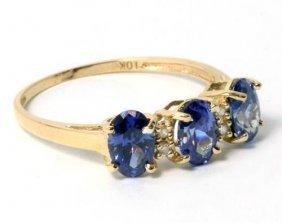 2.40 Ctw Lab Created Tanzanite & Diamond 10K Ring