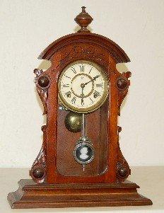 Waterbury Walnut Parlor Clock W/ Lady Pendulum
