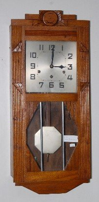 Hamburg German Oak Wall Hanging Box Clock