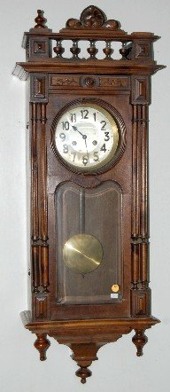 German Carved Wall Hanging Box Clock