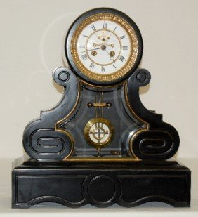 "French ""Horlocerie, Paris"" Slate Mantel Clock"