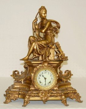 Ansonia Undine And Huntress Statue Clock