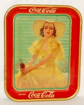 1938 Coca Cola Tray, Lady In Yellow Dress
