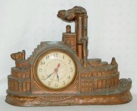 Gibraltar Paddle Wheel Ship Novelty Clock