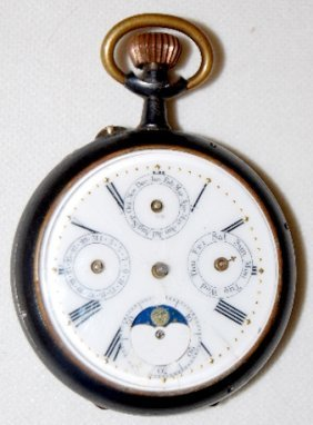 Swiss Calendar & Moon Phase Pocket Watch