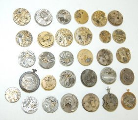 30 Pocket Watch Movements; Many With Dials