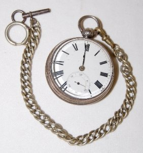 English Fusee Pocket Watch In A Sterling Case