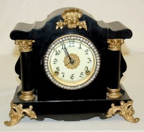 Ornate Iron Case Mantel Clock, Rhinestones