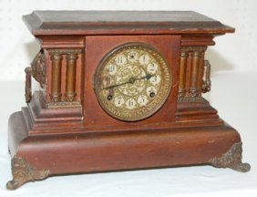 Antique Mantel Clock W/ Fancy Dial
