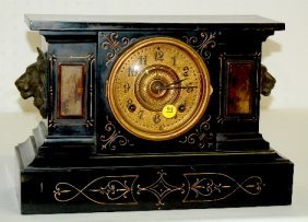 Ansonia Iron Case Clock With Lion Heads
