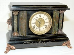 Antique Gilbert Black Mantel Clock