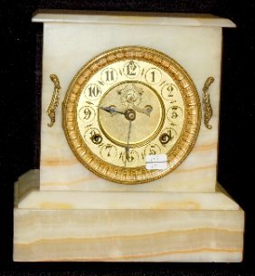 Waterbury Onyx Open Escapement Clock