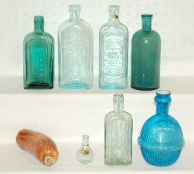 8 Antique Bottles, Medicine, Whiskey
