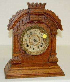 Antique Oak Ansonia Cabinet Clock, T & S