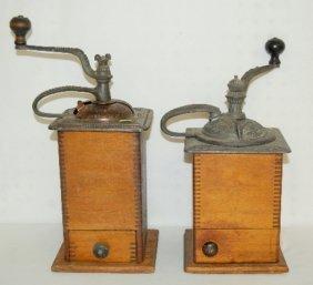 2 Antique Wood & Cast Iron Coffee Mills