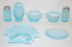 7 Blue Opalescent Hobnail Glass Items
