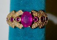 Ring - 10 K Yellow Gold Ruby And Diamond