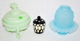 3 Colorful Glass Items, Fairy Lamp, Jar, Sugar Bowl
