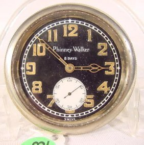 8 Day Phinney Walker Car Clock, Swiss NR