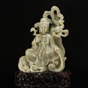 Chinese Qing Dy Hetian Jade Statue - Kwan-yin & Kid