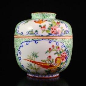 Chinese Gilt Edges Famille Rose Porcelain Pot