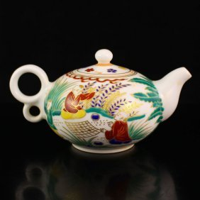 Chinese Gilt Edges Dou Cai Porcelain Teapot
