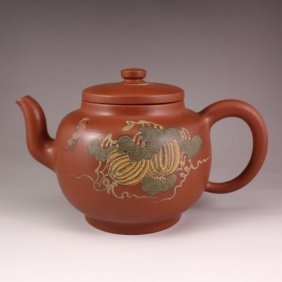 Chinese Zisha / Purple Clay Teapot W Artist Signature