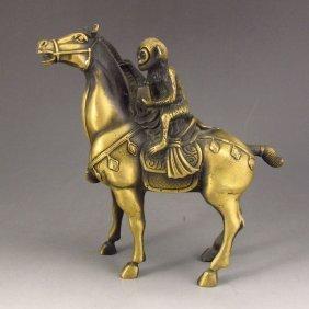 Chinese Brass Statue - Monkey & Horse