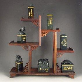 A Set 7 Chinses Hetian Jade Mao Zedong Commemorate Seal