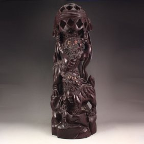 Chinese Natural Rosewood Statue - Two Lion & Ball