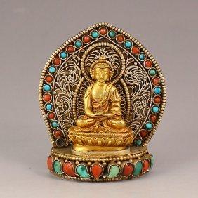 Chinese Tibet Brass Inlay Turquoise Coral Buddha Statue