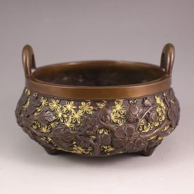 Chinese Bronze Double Ears 3 Legs Incense Burner