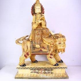 Hand-carved Chinese Bone Statue - Bodhisattva & Lion