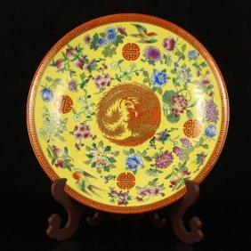 Chinese Gilt Gold Famille Rose Porcelain Plate