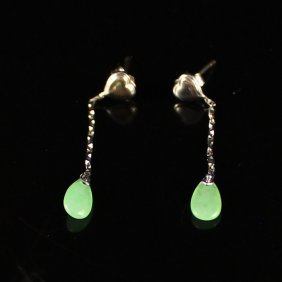 A Pair White Gold / Platinum Inlay Jadeite Earrings