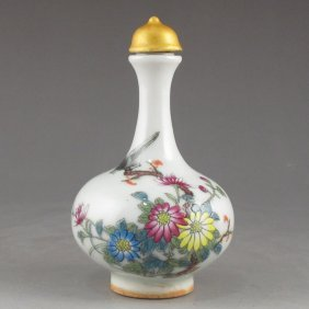 Hand Draw Chinese Famille Rose Porcelain Snuff Bottle