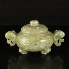 Chinese Natural Hetian Jade Double Ears Incense Burner
