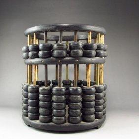 Chinese Ebony Wood Abacus Shape Brush Pot