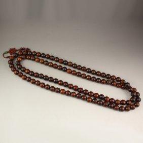 108 Beads Chinese Hua Li Wood Buddhism Prayer Necklace