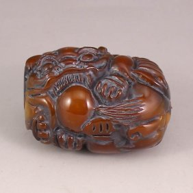 Chinese Ox Horn Pendant - Lion & Ball
