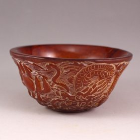Chinese Ox Horn Bowl Carved Dragons