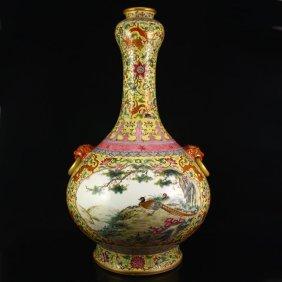 Chinese Gold-plated Famille Rose Porcelain Big Vase