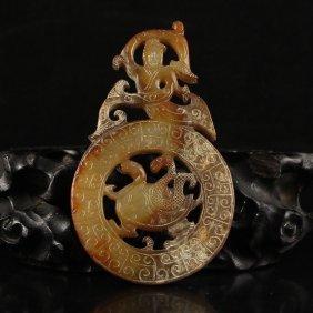 Vintage Chinese Hetian Jade Figure Pendant