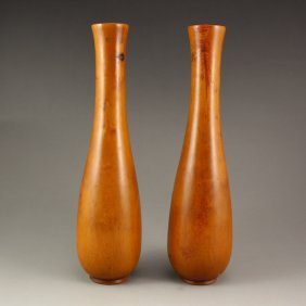 A Pair Chinese Boxwood Wood Vases