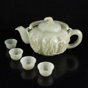 A Set Chinese High Relief Hetian Jade Teapot & Cups